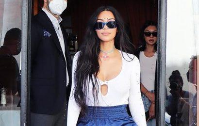 Kim Kardashian Rocks High-Waisted Short Shorts & Plunging Bodysuit In Rome — Photo
