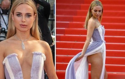 Kimberley Garner flashes bottom as she puts on eye-popping display in racy gown at Cannes