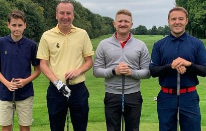 Corries Sam Aston all smiles as he joins co-stars for friendly round of golf